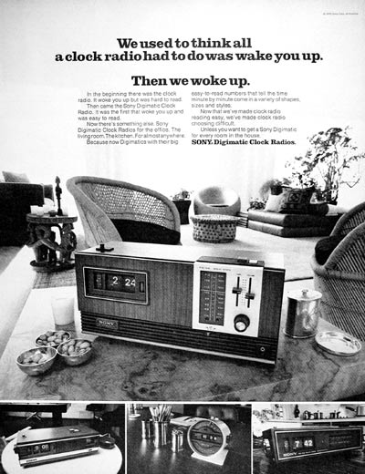 1971 Sony Clock Radio original vintage advertisement. Introducing Sony digimatic clock radio for the office. The living room. The kitchen. For almost anywhere